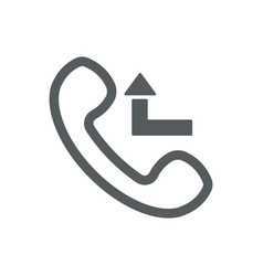 Missed call icon with outline handset and arrow vector