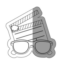 monochrome contour sticker with clapper board and vector image