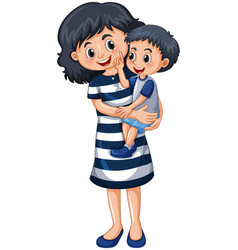 Mother carrying little boy vector