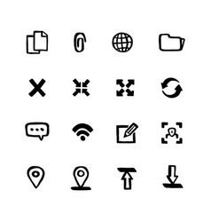 naive style web icon set web and mobile ui doodle vector image
