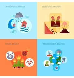 Natural disaster 4 flat icons square vector