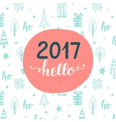 New Year card Hello 2017 vector