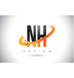 Nh n h letter logo with fire flames design and vector
