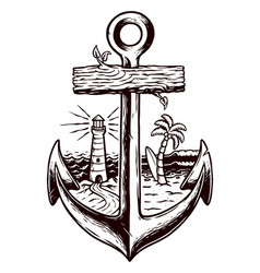 Old anchor and beach vector
