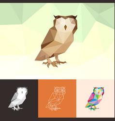 owl animal pet pop art low poly line logo icon vector image