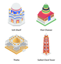 Pack cityscape isometric icons vector