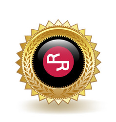 Rchain cryptocurrency coin gold badge vector