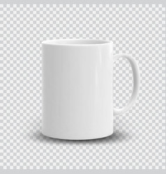 Realistic white cup isolated on transparent vector