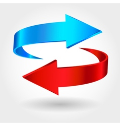 Red and blue arrows are moving towards Arrows sign vector image
