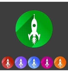 Rocket icon flat web sign symbol logo label vector image