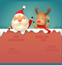 santa claus and reindeer on wall vector image