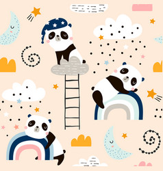 seamless pattern with cute sleeping pandas moon vector image