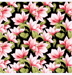 Seamless pattern with magnolia flowers on the vector