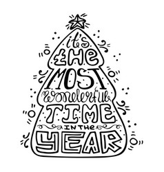 seasonal handdrawn monochrome lettering vector image