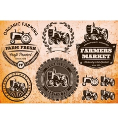 Set of labels with a tractor for livestock vector