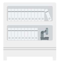 Shelves with folders and microscope vector