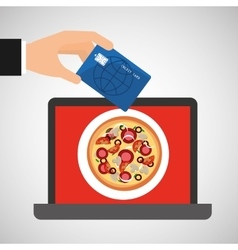 shopping online concept order pizza vector image