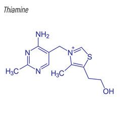 Skeletal formula thiamine drug chemical vector
