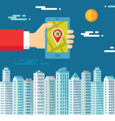 Smartphone with map and location in human hand vector image