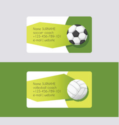 sport business card football volleyball vector image