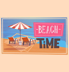 summer beach time vacation sea travel retro banner vector image vector image