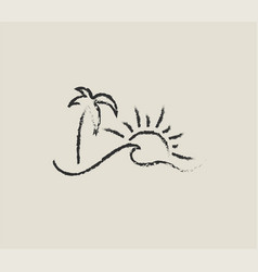 summer hand drawn icon or logo or sign with vector image