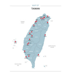 Taiwan map with red pin vector