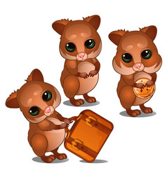 Three hamster with suitcase and biscuits vector
