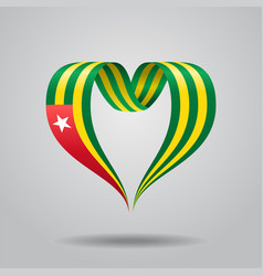 Togolese flag heart-shaped ribbon vector