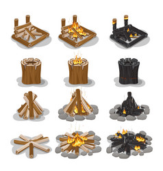 Tourist campfire collection with flame on white vector