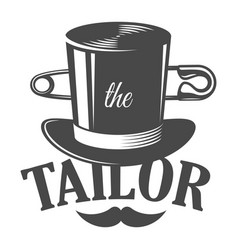 vintage tailor monochrome logotype template vector image