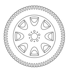 Wheel with tyre outline icon vector