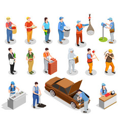 Worker professions isometric people vector