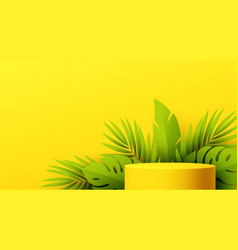 yellow product podium with paper cut monstera leaf vector image