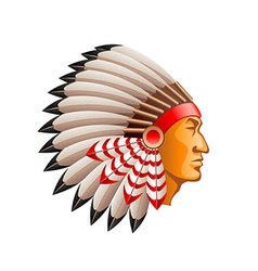 American indian chief isolated on white vector image vector image