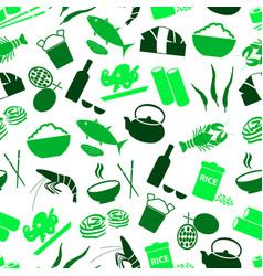 asian food theme set of icons seamless green patte vector image