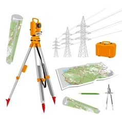 Theodolite maps compasses pencil power lines vector image