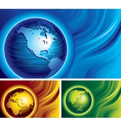 Three globes vector image