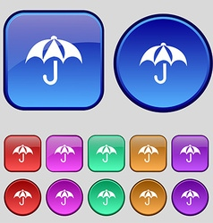 Umbrella icon sign A set of twelve vintage buttons vector image