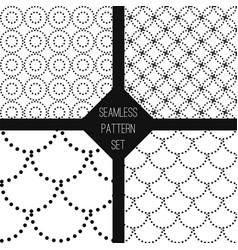 black white seamless pattern set vector image vector image