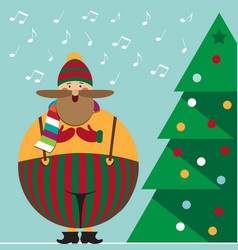cute christmas card with funny fat christmas carol vector image
