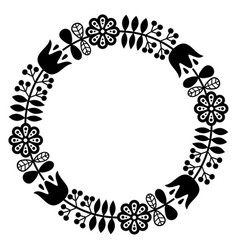 finnish inspired round folk art pattern - black de vector image vector image