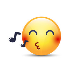 singing smiley face emoji whistles a song cartoon vector image vector image