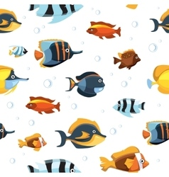 Underwater life with cute cartoon fishes vector