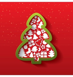 Christmas tree of flat icons New Year vector image vector image