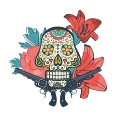 Day of the dead card with vintage skull flowers vector image vector image