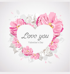 happy valentines day white heart on pink flower vector image vector image