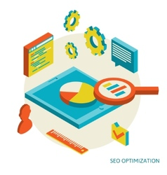 isometric background seo optimization vector image vector image