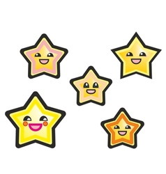 Japanese manga stars hand drawn isolated on white vector image vector image