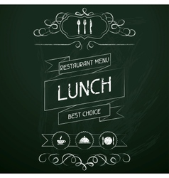 Lunch on the restaurant menu chalkboard vector